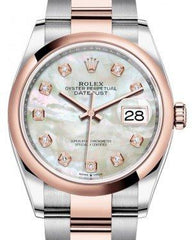 Rolex Datejust 36 Rose Gold/Steel White Mother of Pearl Diamond Dial & Domed Bezel Oyster Bracelet 126201 - Fresh