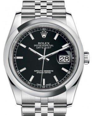 Rolex Datejust 36 Stainless Steel Black Index Dial & Smooth Domed Bezel Jubilee Bracelet 116200 - Fresh