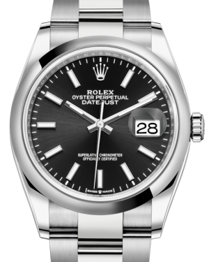 Rolex Datejust 36 Stainless Steel Black Index Dial & Smooth Domed Bezel Oyster Bracelet 126200 - Fresh