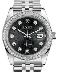 Rolex Datejust 36 White Gold/Steel Black Jubilee Diamond Dial & Diamond Bezel Jubilee Bracelet 116244 - Fresh