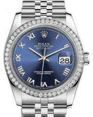 Rolex Datejust 36 White Gold/Steel Blue Roman Dial & Diamond Bezel Jubilee Bracelet 116244 - Fresh