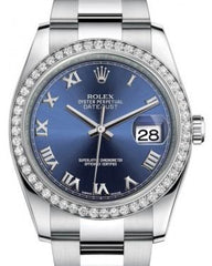 Rolex Datejust 36 White Gold/Steel Blue Roman Dial & Diamond Bezel Oyster Bracelet 116244 - Fresh