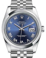 Rolex Datejust 36 Stainless Steel Blue Roman Dial & Smooth Domed Bezel Jubilee Bracelet 116200 - Fresh