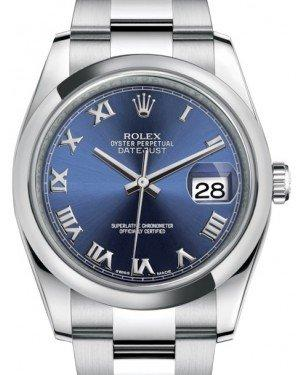 Rolex Datejust 36 Stainless Steel Blue Roman Dial & Smooth Domed Bezel Oyster Bracelet 116200 - Fresh