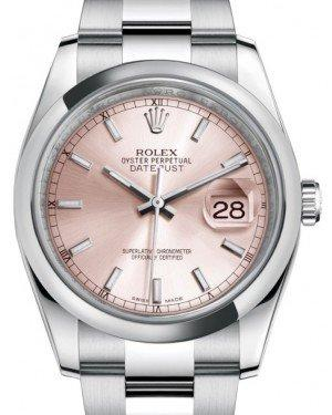 Rolex Datejust 36 Stainless Steel Pink Index Dial & Smooth Domed Bezel Oyster Bracelet 116200 - Fresh