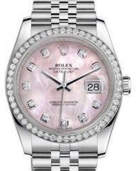 Rolex Datejust 36 White Gold/Steel Pink Mother of Pearl Diamond Dial & Diamond Bezel Jubilee Bracelet 116244 - Fresh