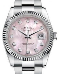 Rolex Datejust 36 White Gold/Steel Pink Mother of Pearl Diamond Dial & Fluted Bezel Oyster Bracelet 116234 - Fresh