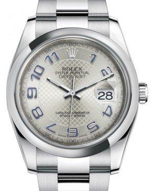 Rolex Datejust 36 Stainless Steel Silver Diagonal Motif Arabic Dial & Smooth Domed Bezel Oyster Bracelet 116200 - Fresh