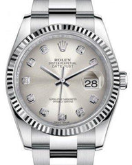 Rolex Datejust 36 White Gold/Steel Silver Diamond Dial & Fluted Bezel Oyster Bracelet 116234 - Fresh