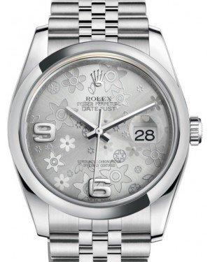 Rolex Datejust 36 Stainless Steel Silver Floral Motif Arabic Dial & Smooth Domed Bezel Jubilee Bracelet 116200 - Fresh