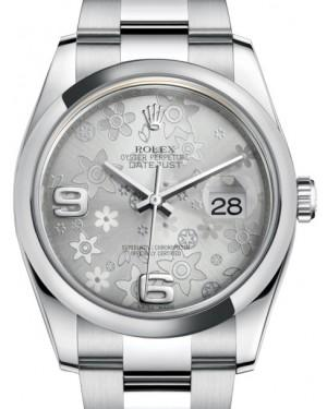 Rolex Datejust 36 Stainless Steel Silver Floral Motif Arabic Dial & Smooth Domed Bezel Oyster Bracelet 116200 - Fresh
