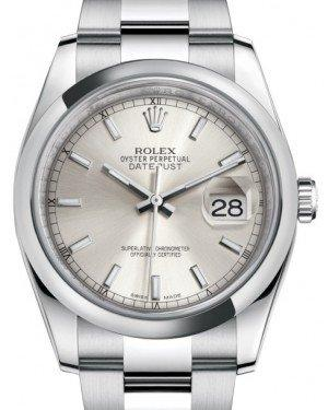 Rolex Datejust 36 Stainless Steel Silver Index Dial & Smooth Domed Bezel Oyster Bracelet 116200 - Fresh