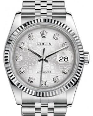 Rolex Datejust 36 White Gold/Steel Silver Jubilee Diamond Dial & Fluted Bezel Jubilee Bracelet 116234 - Fresh