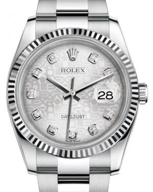 Rolex Datejust 36 White Gold/Steel Silver Jubilee Diamond Dial & Fluted Bezel Oyster Bracelet 116234 - Fresh
