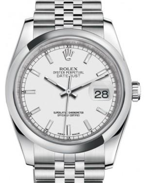 Rolex Datejust 36 Stainless Steel White Index Dial & Smooth Domed Bezel Jubilee Bracelet 116200 - Fresh