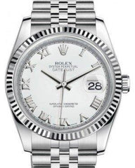 Rolex Datejust 36 White Gold/Steel White Roman Dial & Fluted Bezel Jubilee Bracelet 116234 - Fresh
