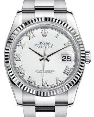 Rolex Datejust 36 White Gold/Steel White Roman Dial & Fluted Bezel Oyster Bracelet 116234 - Fresh