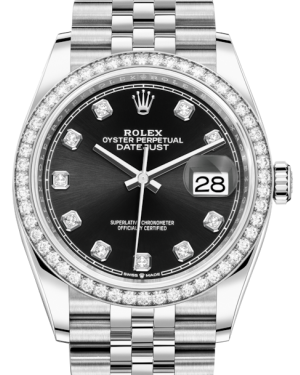 Rolex Datejust 36 White Gold/Steel Black Diamond Dial & Diamond Bezel Jubilee Bracelet 126284RBR - Fresh
