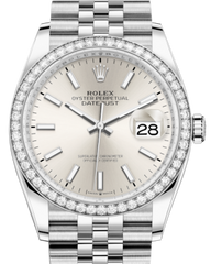 Rolex Datejust 36 White Gold/Steel Silver Index Dial & Diamond Bezel Jubilee Bracelet 126284RBR - Fresh