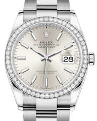 Rolex Datejust 36 White Gold/Steel Silver Index Dial & Diamond Bezel Oyster Bracelet 126284RBR - Fresh