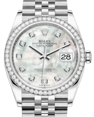 Rolex Datejust 36 White Gold/Steel White Mother of Pearl Diamond Dial & Diamond Bezel Jubilee Bracelet 126284RBR - Fresh