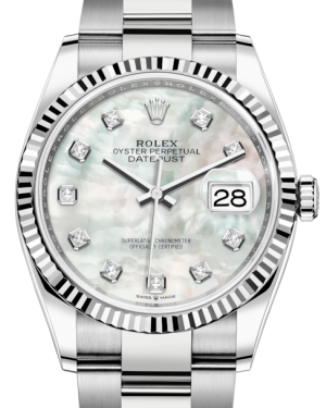 Rolex Datejust 36 White Gold/Steel White Mother of Pearl Diamond Dial & Fluted Bezel Oyster Bracelet 126234 - Fresh