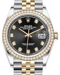 Rolex Datejust 36 Yellow Gold/Steel Black Diamond Dial & Diamond Bezel Jubilee Bracelet 126283RBR - Fresh