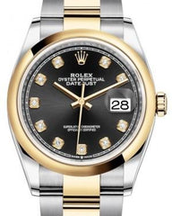 Rolex Datejust 36 Yellow Gold/Steel Black Diamond Dial & Smooth Domed Bezel Oyster Bracelet 126203 - Fresh