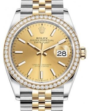 Rolex Datejust 36 Yellow Gold/Steel Champagne Index Dial & Diamond Bezel Jubilee Bracelet 126283RBR - Fresh