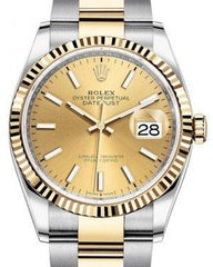 Rolex Datejust 36 Yellow Gold/Steel Champagne Index Dial & Fluted Bezel Oyster Bracelet 126233 - Fresh