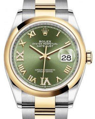 Rolex Datejust 36 Yellow Gold/Steel Olive Green Roman Diamond VI Dial & Smooth Domed Bezel Oyster Bracelet 126203 - Fresh