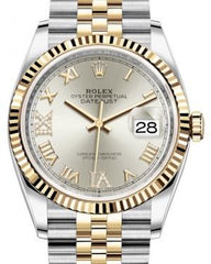 Rolex Datejust 36 Yellow Gold/Steel Silver Roman Diamond VI Dial & Fluted Bezel Jubilee Bracelet 126233 - Fresh