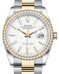 Rolex Datejust 36 Yellow Gold/Steel White Index Dial & Diamond Bezel Oyster Bracelet 126283RBR - Fresh