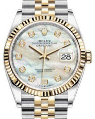 Rolex Datejust 36 Yellow Gold/Steel White Mother of Pearl Diamond Dial & Fluted Bezel Jubilee Bracelet 126233 - Fresh