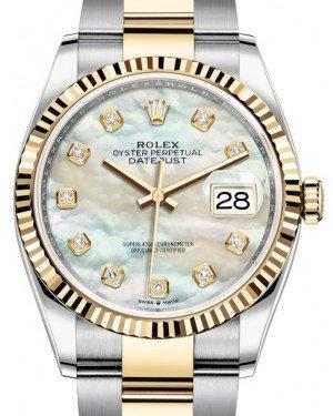 Rolex Datejust 36 Yellow Gold/Steel White Mother of Pearl Diamond Dial & Fluted Bezel Oyster Bracelet 126233 - Fresh