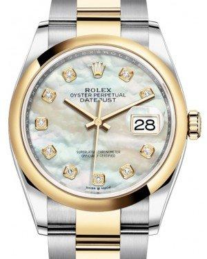 Rolex Datejust 36 Yellow Gold/Steel White Mother of Pearl Diamond Dial & Smooth Domed Bezel Oyster Bracelet 126203 - Fresh