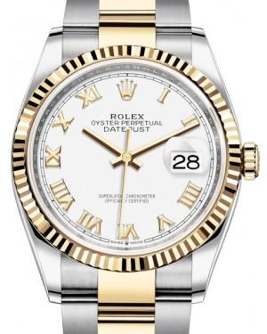 Rolex Datejust 36 Yellow Gold/Steel White Roman Dial & Fluted Bezel Oyster Bracelet 126233 - Fresh