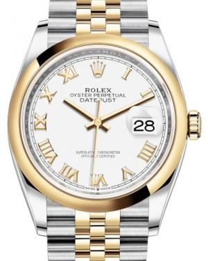 Rolex Datejust 36 Yellow Gold/Steel White Roman Dial & Smooth Domed Bezel Jubilee Bracelet 126203 - Fresh