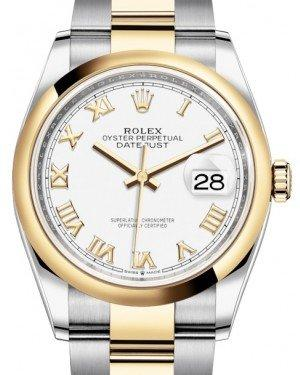 Rolex Datejust 36 Yellow Gold/Steel White Roman Dial & Smooth Domed Bezel Oyster Bracelet 126203 - Fresh