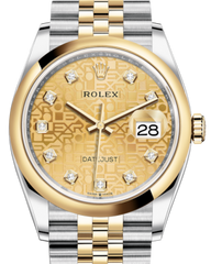 Rolex Datejust 36 Yellow Gold/Steel Champagne Jubilee Diamond Dial & Smooth Domed Bezel Jubilee Bracelet 126203 - Fresh