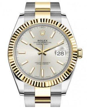 Rolex Datejust 41 Yellow Gold/Steel Silver Index Dial Fluted Bezel Oyster Bracelet 126333 -  Fresh