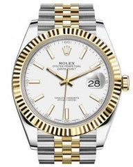 Rolex Datejust 41 Yellow Gold/Steel White Index Dial Fluted Bezel Jubilee Bracelet 126333 -  Fresh