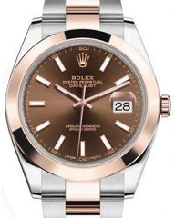Rolex Datejust 41 Rose Gold/Steel Chocolate Index Dial Smooth Bezel Oyster Bracelet 126301 -  Fresh
