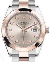 Rolex Datejust 41 Rose Gold/Steel Sundust Diamond Dial Smooth Bezel Oyster Bracelet 126301 -  Fresh