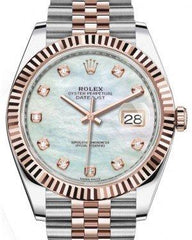 Rolex Datejust 41 Rose Gold/Steel White Mother of Pearl Diamond Dial Fluted Bezel Jubilee Bracelet 126331 -  Fresh