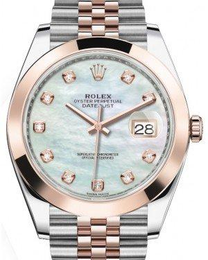 Rolex Datejust 41 Rose Gold/Steel White Mother of Pearl Diamond Dial Smooth Bezel Jubilee Bracelet 126301 -  Fresh