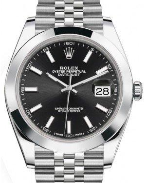 Rolex Datejust 41 Stainless Steel Black Index Dial Smooth Bezel Jubilee Bracelet 126300 -  Fresh