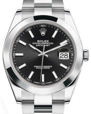 Rolex Datejust 41 Stainless Steel Black Index Dial Smooth Bezel Oyster Bracelet 126300 -  Fresh