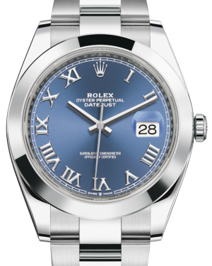 Rolex Datejust 41 Stainless Steel Blue Roman Dial Smooth Bezel Oyster Bracelet 126300 -  Fresh