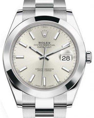 Rolex Datejust 41 Stainless Steel Silver Index Dial Smooth Bezel Oyster Bracelet 126300 -  Fresh